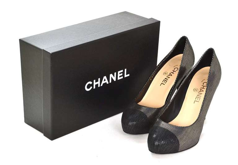 CHANEL Black/Pewter Glitter Pump Shoes-Sz 8.5 9