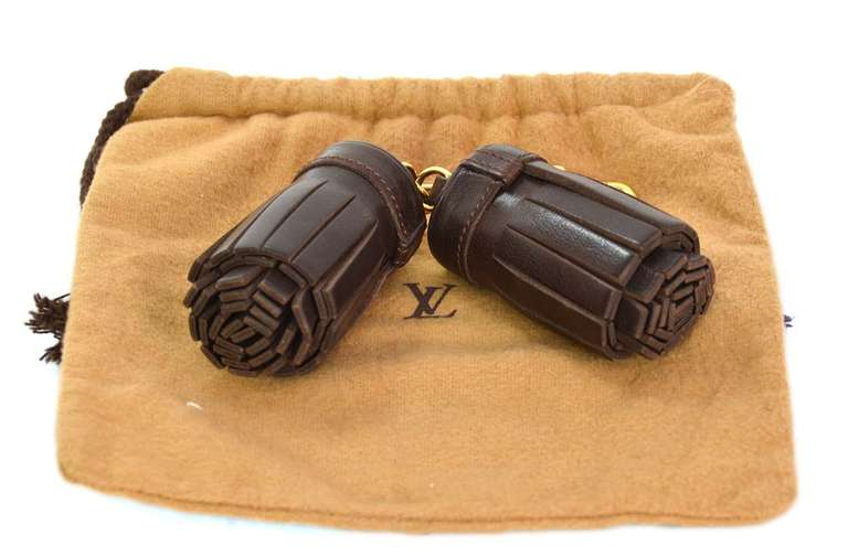 Louis Vuitton Brown Leather Double Tassel Bag Key Charm At