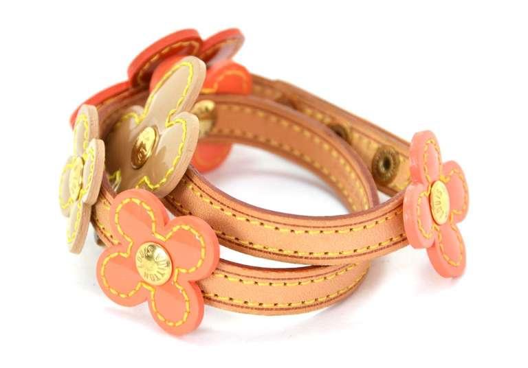 LOUIS VUITTON Orange Vernis Flower Wrap Bracelet 2