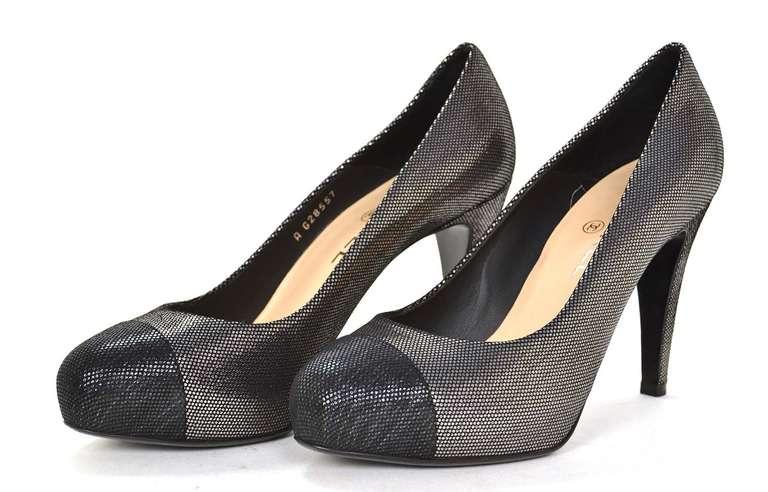 CHANEL Black/Pewter Glitter Pump Shoes-Sz 8.5 2