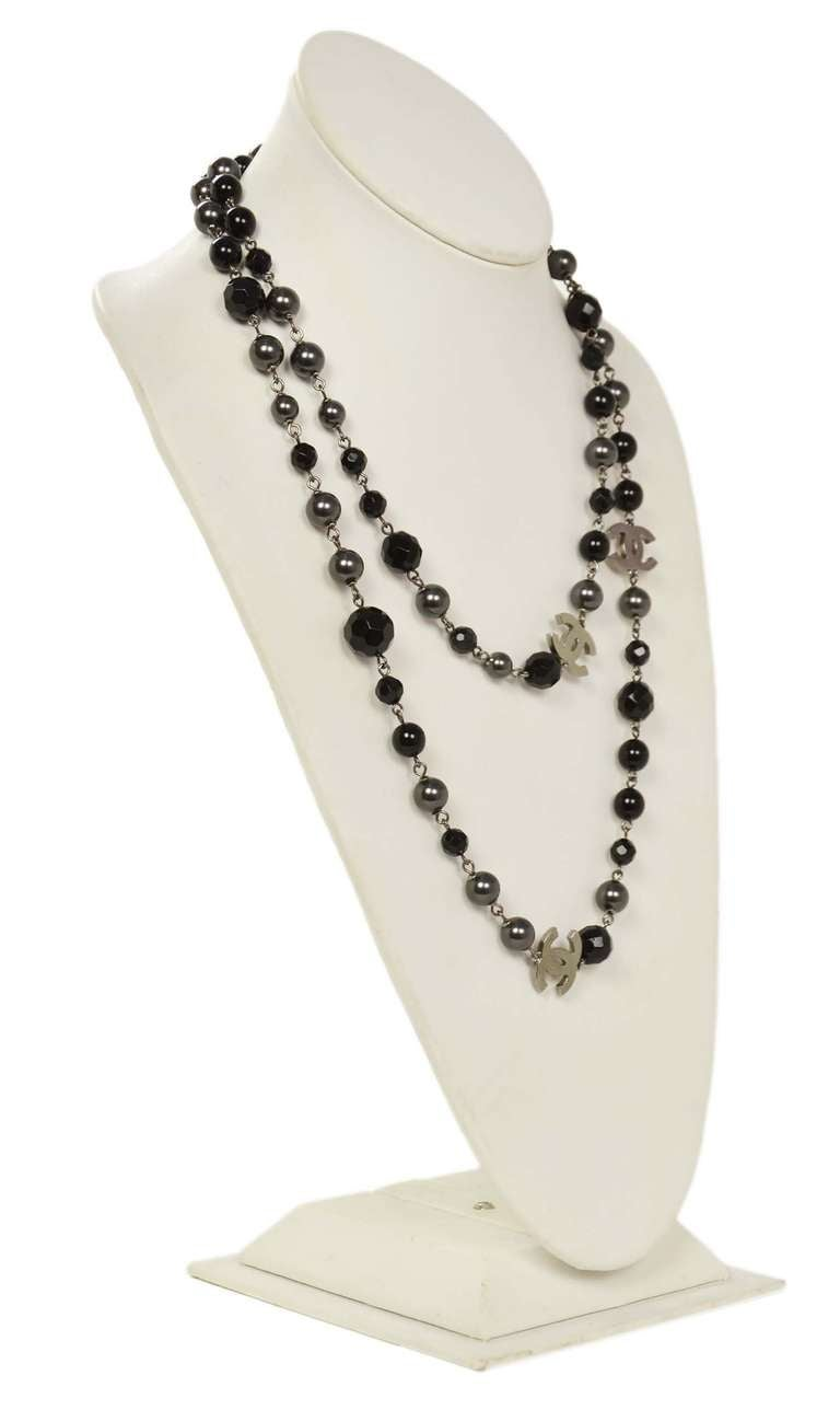 """Chanel 2011 44"""" Long Black & Pewter Beaded Faux Pearl Chain Necklace 2"""