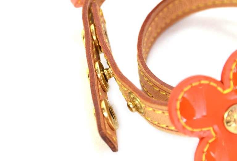LOUIS VUITTON Orange Vernis Flower Wrap Bracelet 3