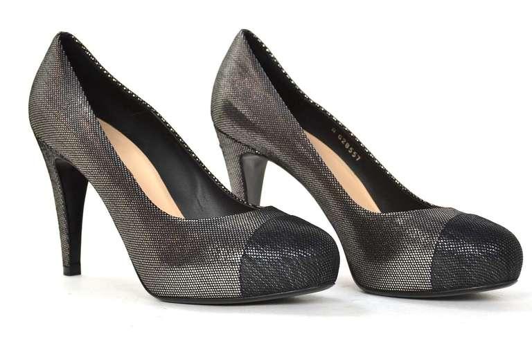 CHANEL Black/Pewter Glitter Pump Shoes-Sz 8.5 3