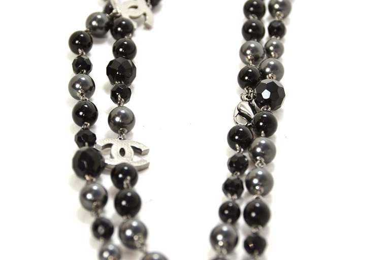 """Chanel 2011 44"""" Long Black & Pewter Beaded Faux Pearl Chain Necklace 3"""
