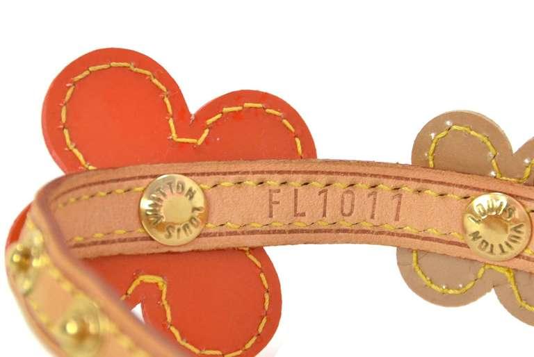 LOUIS VUITTON Orange Vernis Flower Wrap Bracelet 4