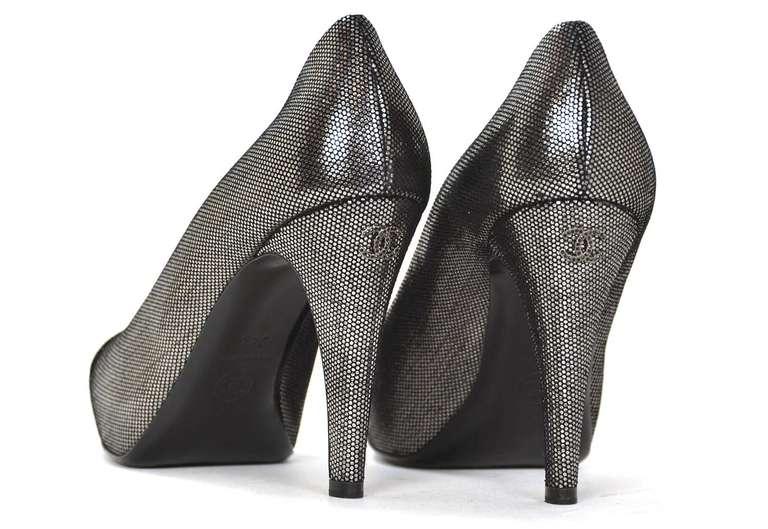 CHANEL Black/Pewter Glitter Pump Shoes-Sz 8.5 4