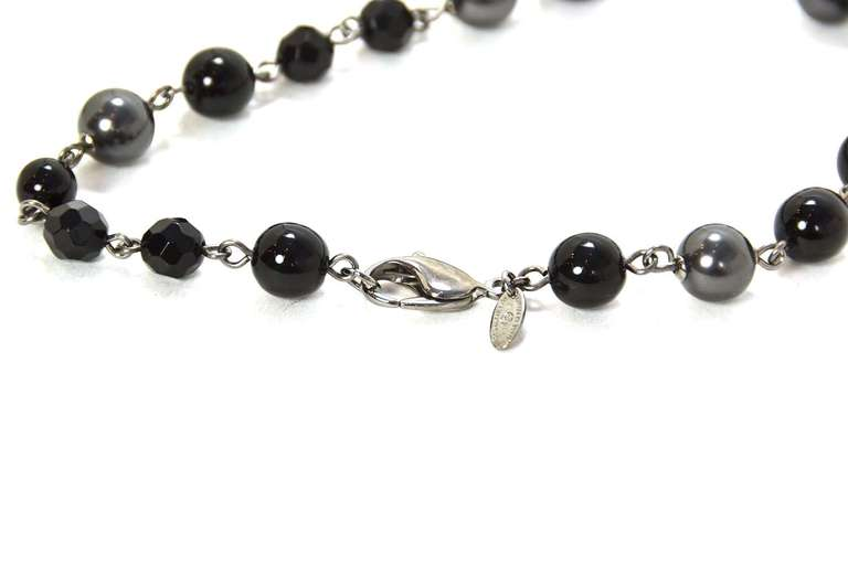 """Chanel 2011 44"""" Long Black & Pewter Beaded Faux Pearl Chain Necklace 4"""
