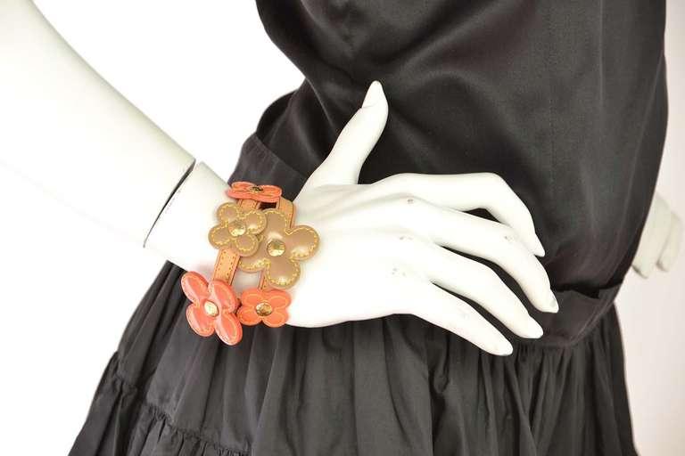 LOUIS VUITTON Orange Vernis Flower Wrap Bracelet 6