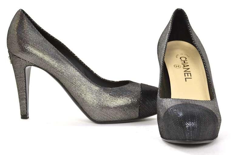 CHANEL Black/Pewter Glitter Pump Shoes-Sz 8.5 6