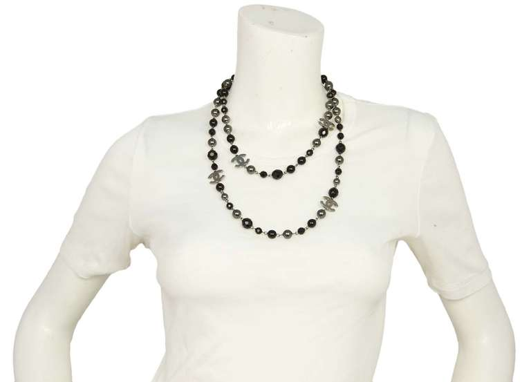 """Chanel 2011 44"""" Long Black & Pewter Beaded Faux Pearl Chain Necklace 7"""