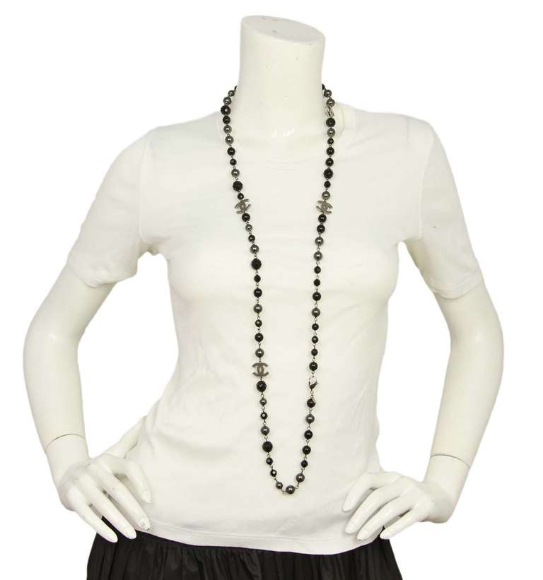 """Chanel 2011 44"""" Long Black & Pewter Beaded Faux Pearl Chain Necklace 8"""