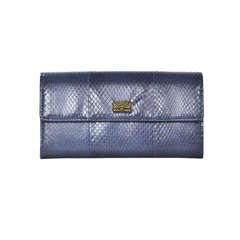 CHANEL Blue Snakeskin Wallet With Classic Bag Charm