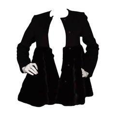 CO COLLECTION Black Wool & Mink Swing Coat sz XS