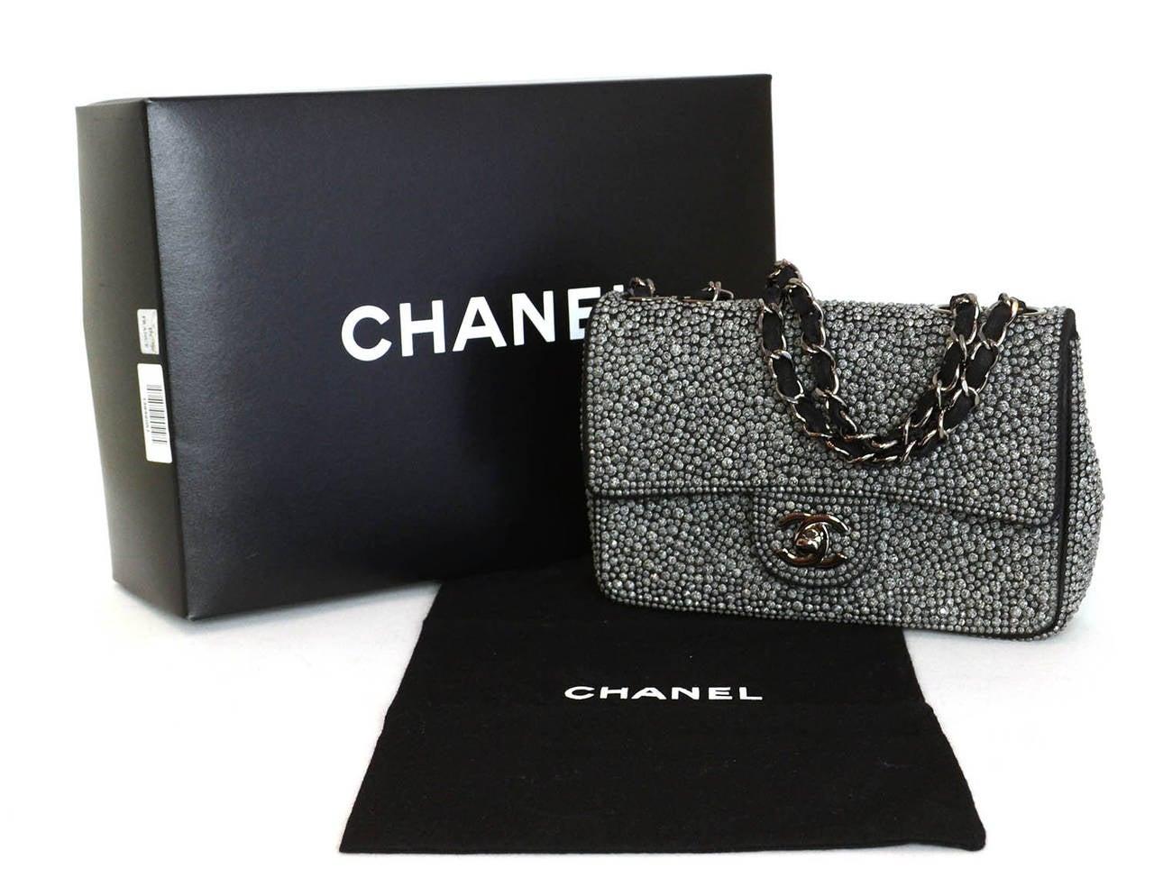 CHANEL 2014 Dark Grey Crystal Mini Classic Flap Evening Bag For Sale 6