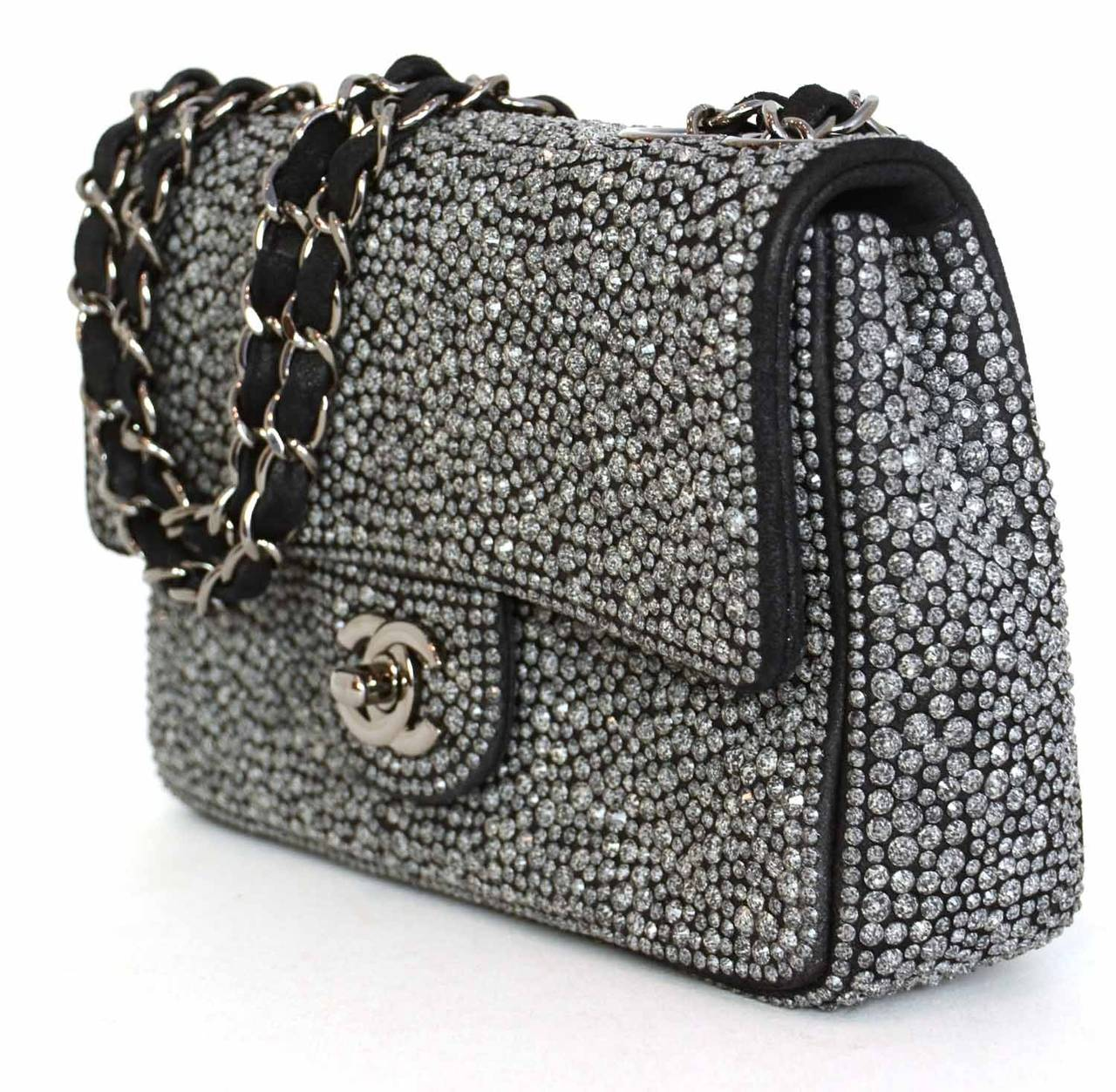CHANEL 2014 Dark Grey Crystal Mini Flap Bag
