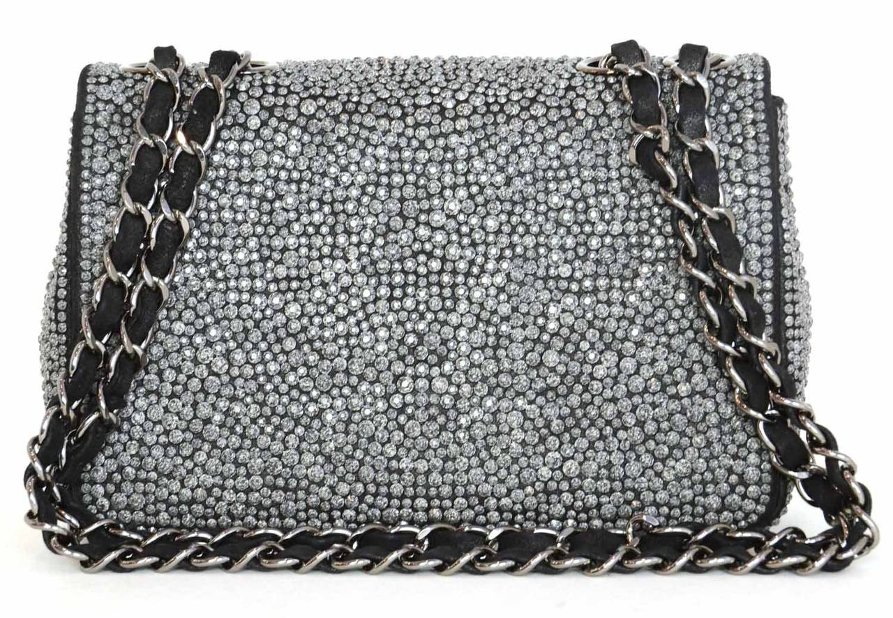 CHANEL 2014 Dark Grey Crystal Mini Classic Flap Evening Bag In Excellent Condition For Sale In New York, NY