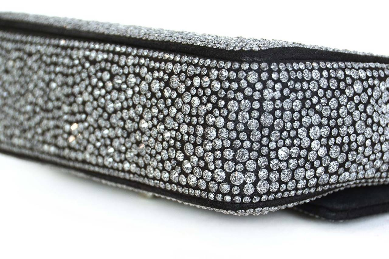 Women's CHANEL 2014 Dark Grey Crystal Mini Classic Flap Evening Bag For Sale