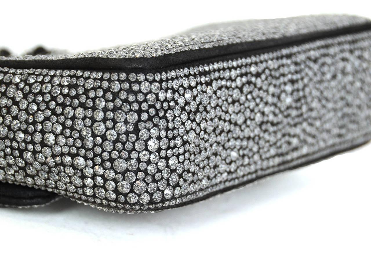 CHANEL 2014 Dark Grey Crystal Mini Classic Flap Evening Bag For Sale 1