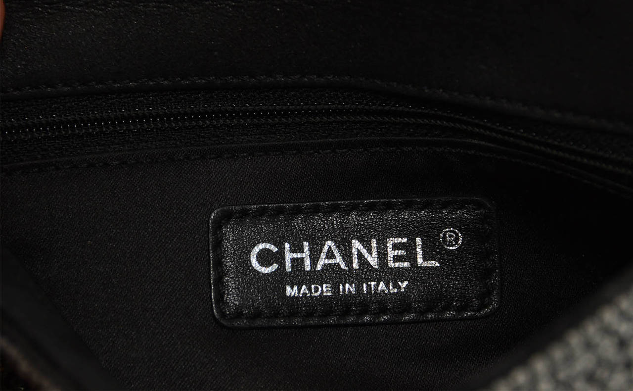 CHANEL 2014 Dark Grey Crystal Mini Classic Flap Evening Bag For Sale 3
