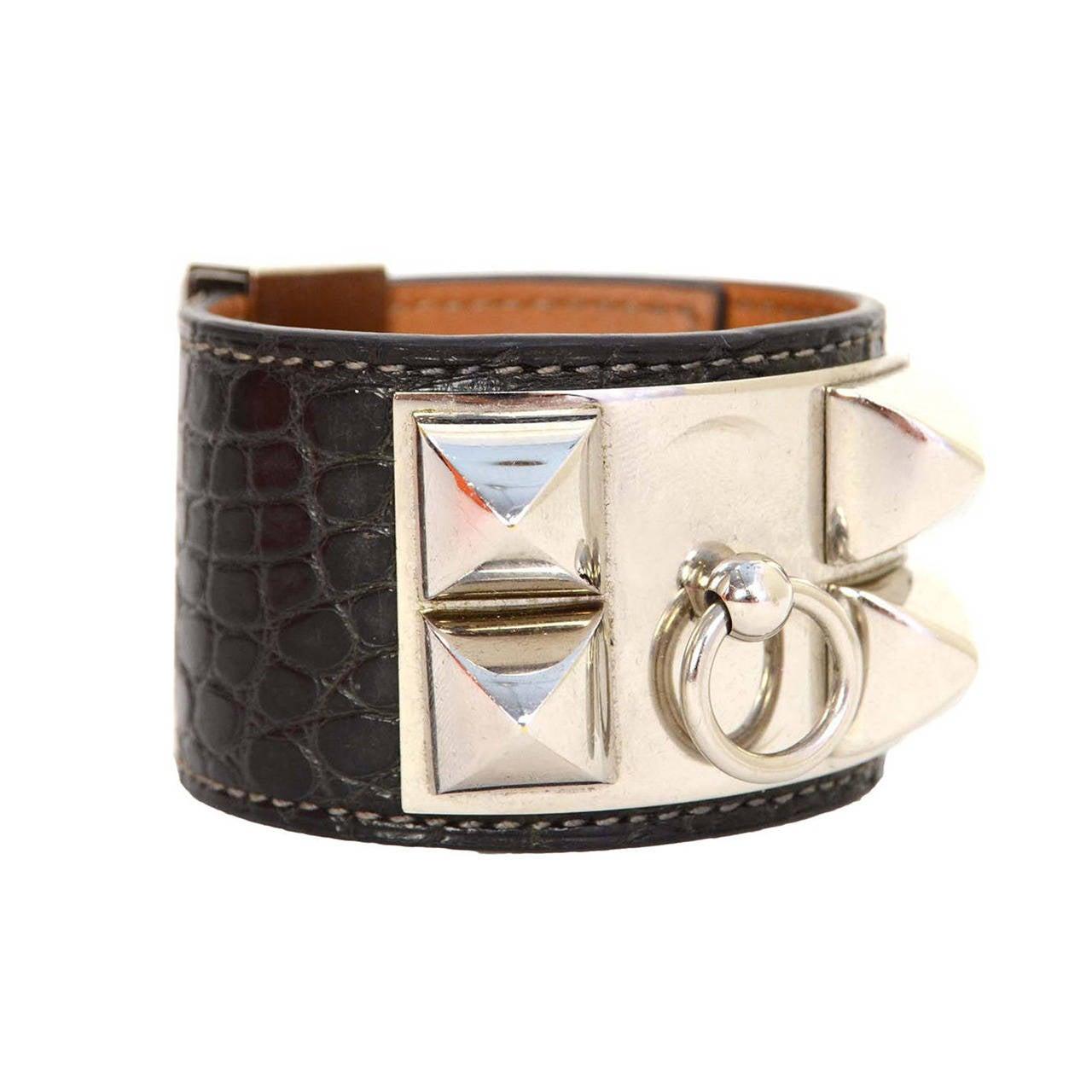 e022cf19eca ... australia hermes graphite crocodile collier de chien cdc cuff bracelet  sz s phw for sale d2926
