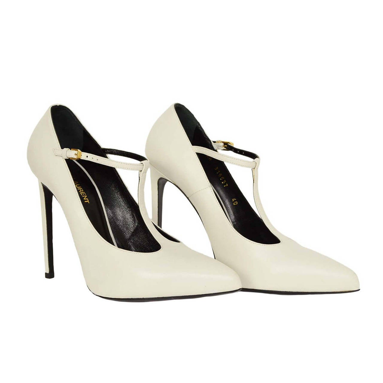 yves laurent ysl white leather t pointed toe