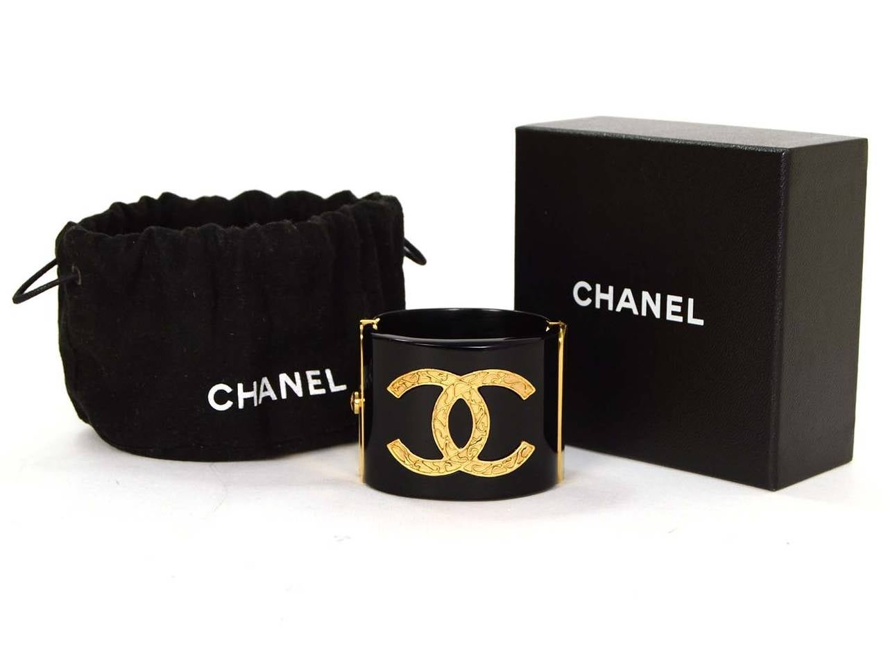 CHANEL Black Resin & Goldtone Cuff Bracelet 6