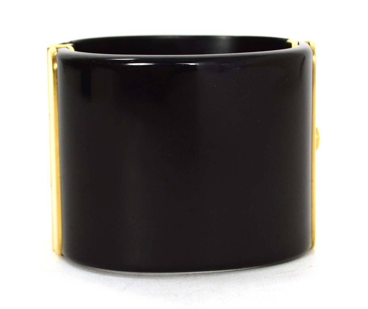CHANEL Black Resin & Goldtone Cuff Bracelet 3