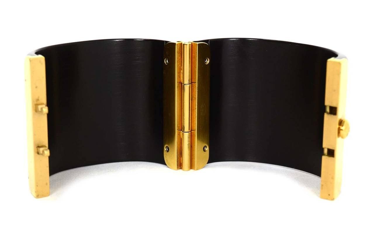 CHANEL Black Resin & Goldtone Cuff Bracelet 4
