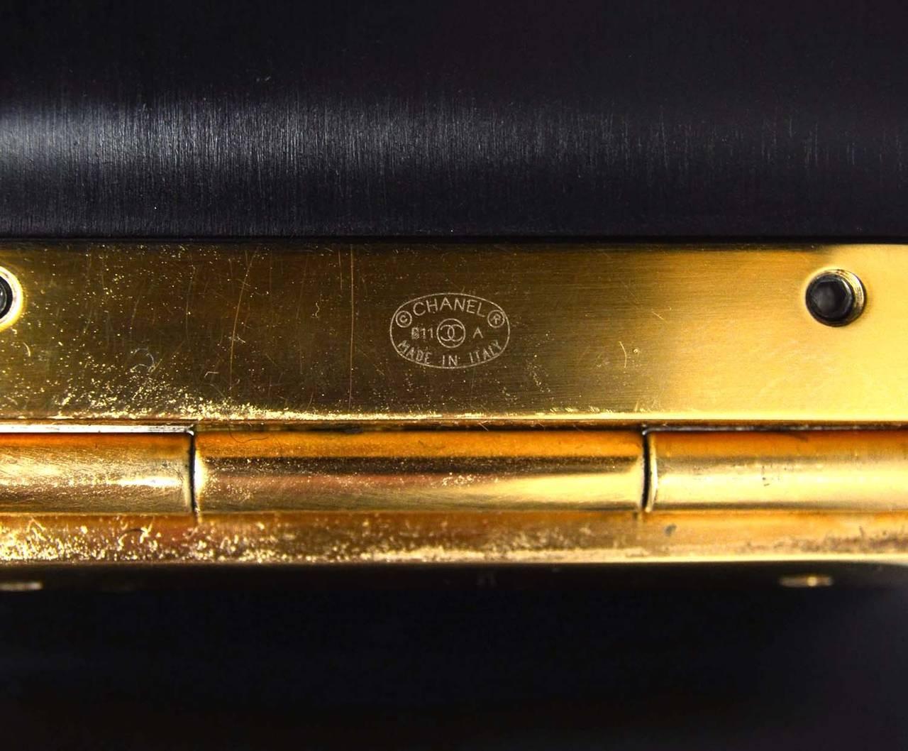 CHANEL Black Resin & Goldtone Cuff Bracelet 5