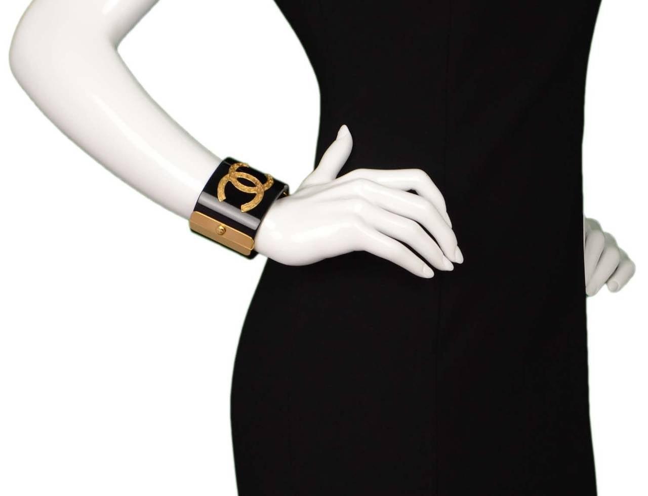CHANEL Black Resin & Goldtone Cuff Bracelet 7
