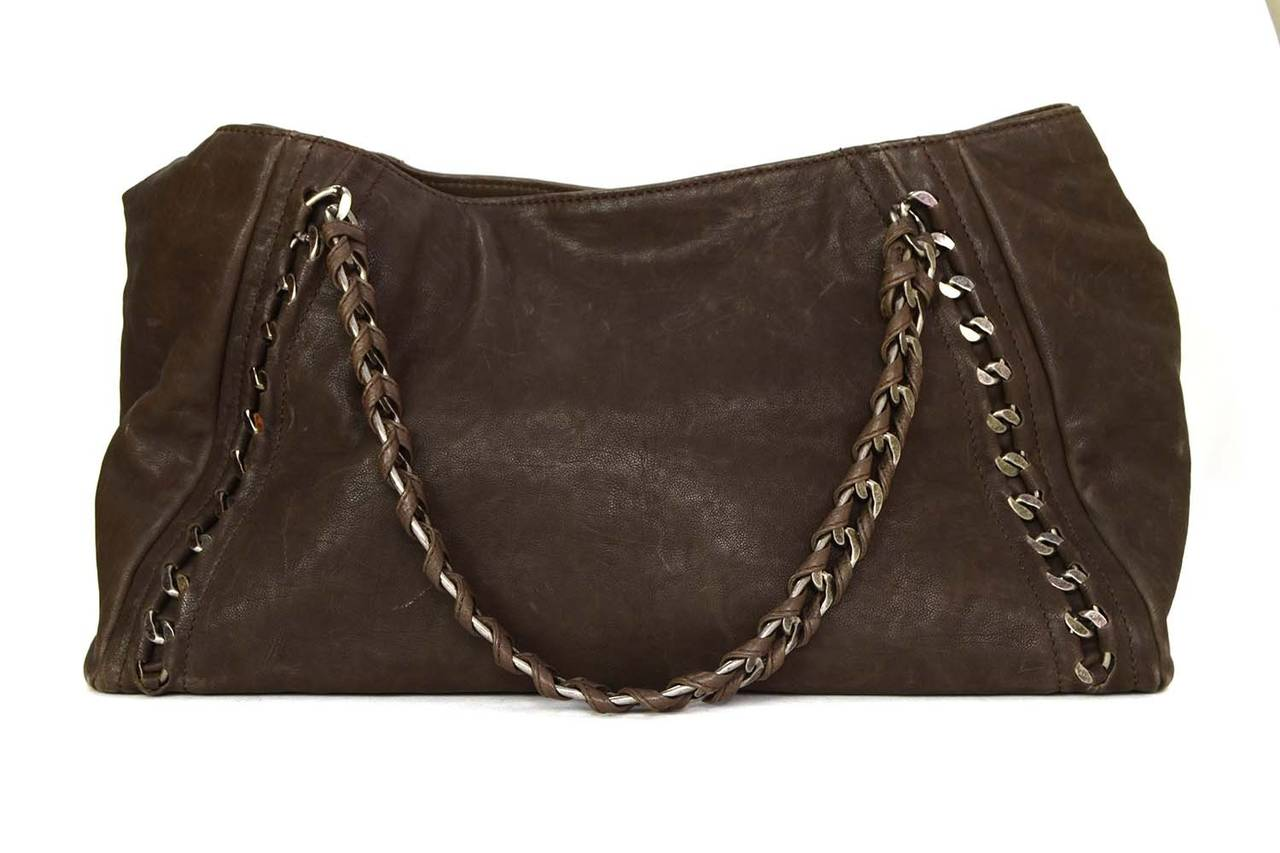 Chanel Brown Distressed Leather Tote Bag Shw In Excellent Condition For New York