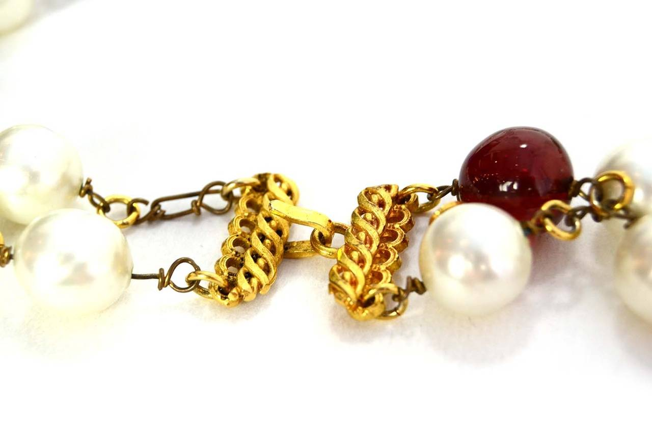 Chanel Vintage '90s Pearl and Glass Bead Double Strand Necklace 3