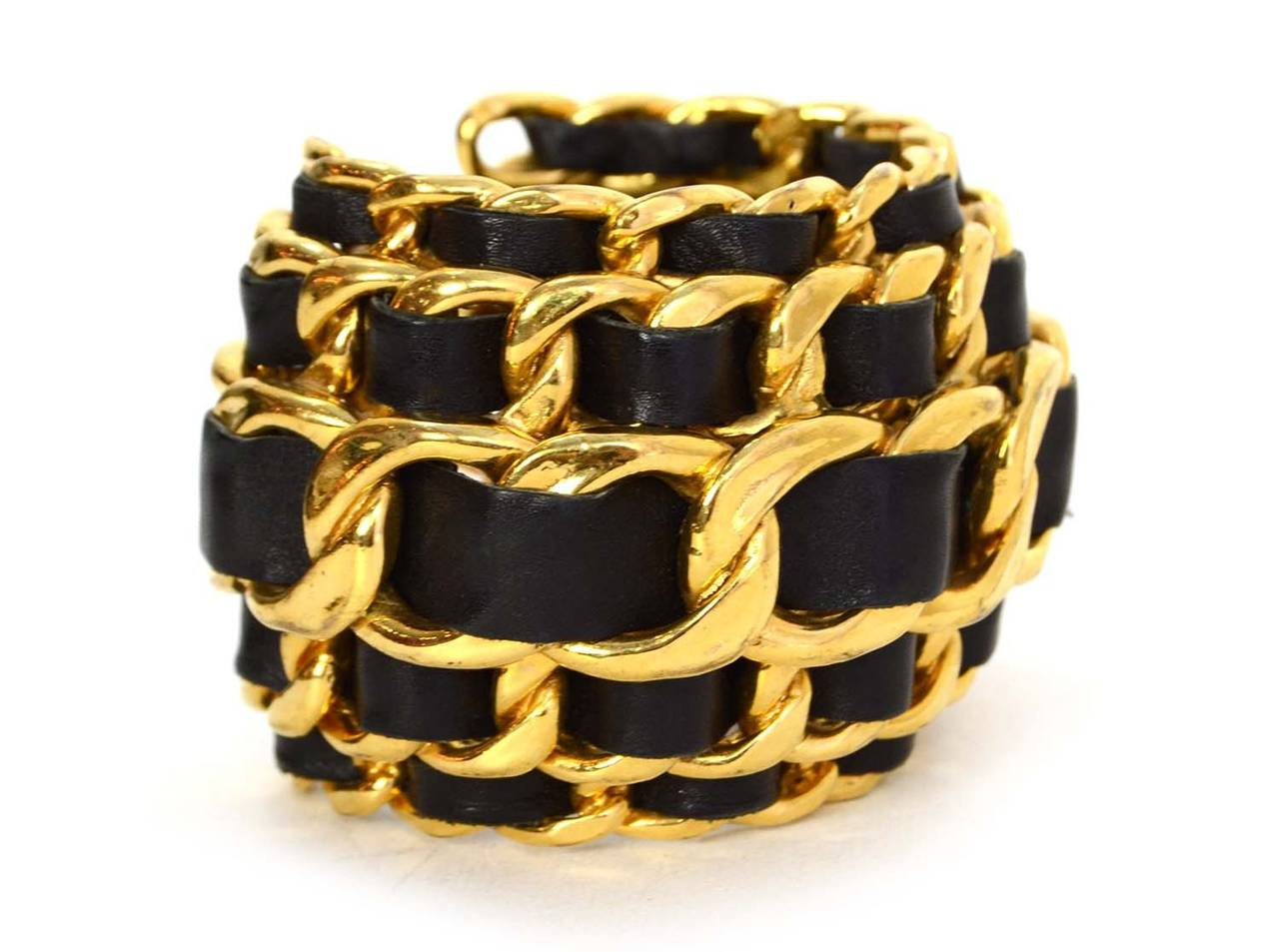 CHANEL Vintage '87 Black Leather Woven Gold Five-Tier Chain Link Cuff Bracelet 2