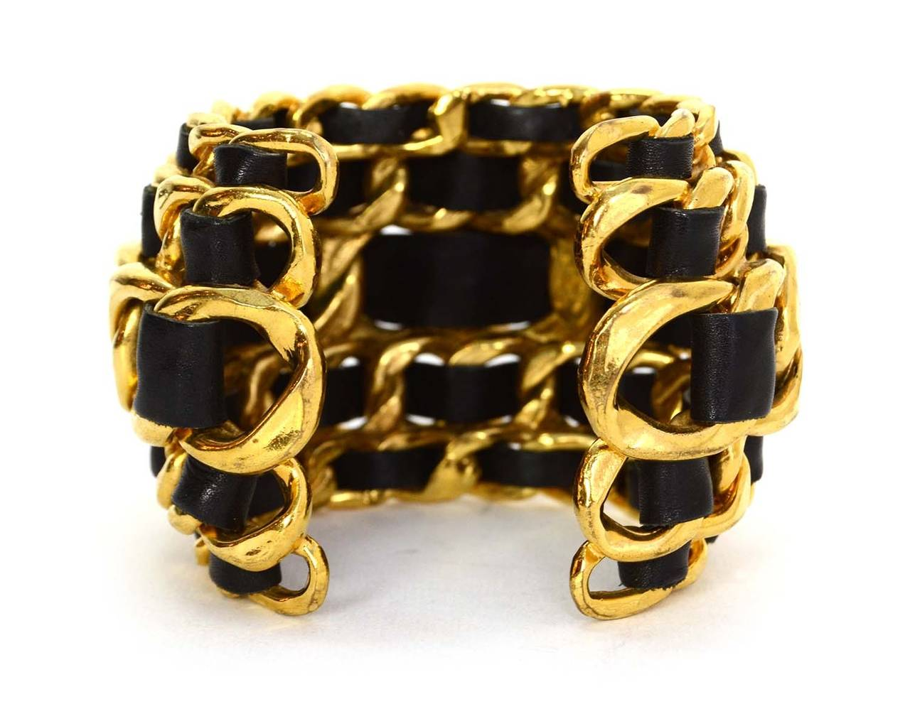 CHANEL Vintage '87 Black Leather Woven Gold Five-Tier Chain Link Cuff Bracelet 3