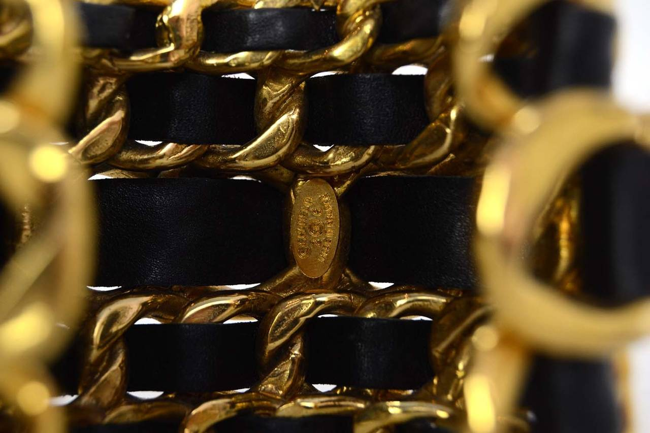 CHANEL Vintage '87 Black Leather Woven Gold Five-Tier Chain Link Cuff Bracelet 4