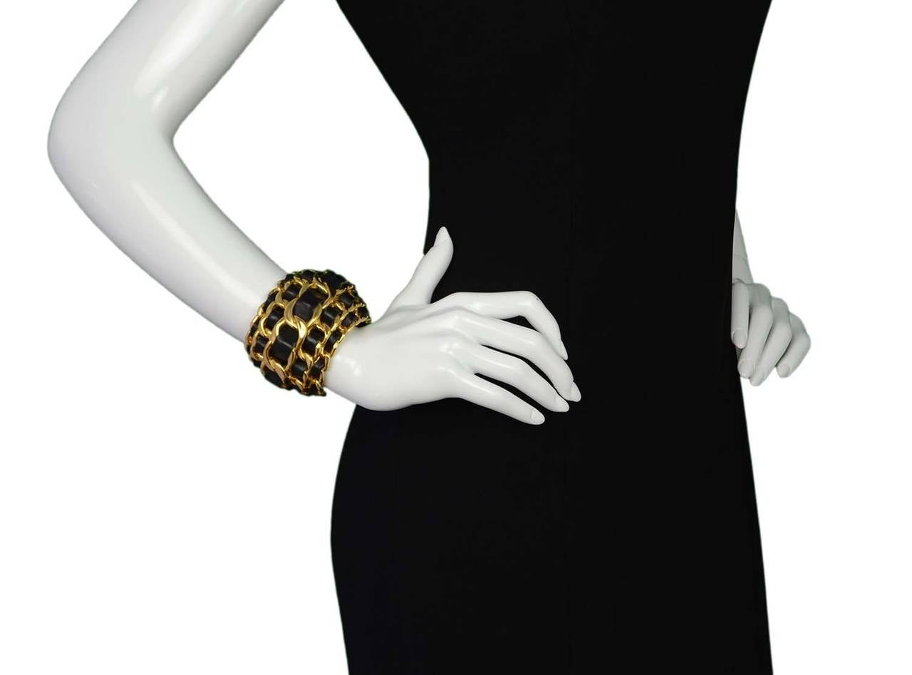 CHANEL Vintage '87 Black Leather Woven Gold Five-Tier Chain Link Cuff Bracelet 5