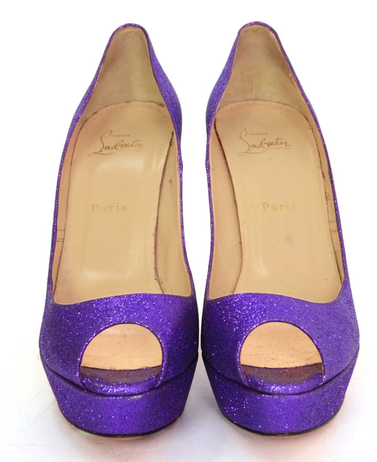 CHRISTIAN LOUBOUTIN Purple Glitter Platform Peep-Toe Pumps sz 40 2