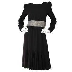 CHLOE Black & Rhinestone Long Sleeve Cocktail Dress sz 38 RT. $3,495