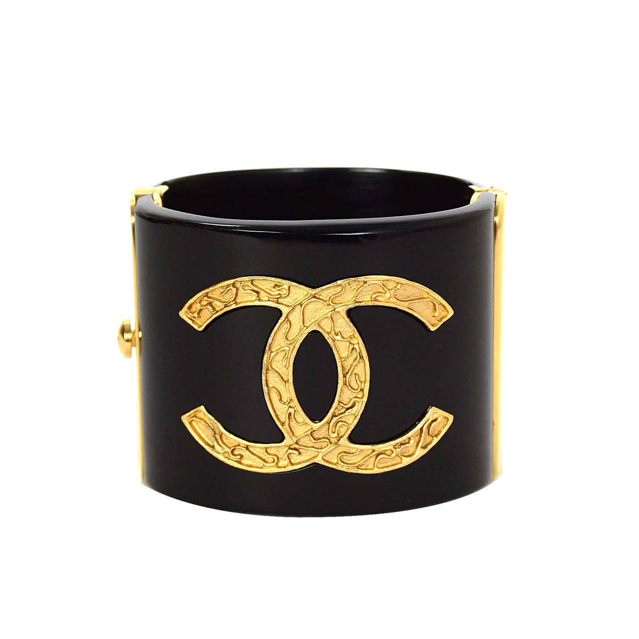 CHANEL Black Resin & Goldtone Cuff Bracelet 1