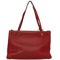 HERMES Red Togo Leather Cabana Bag PHW