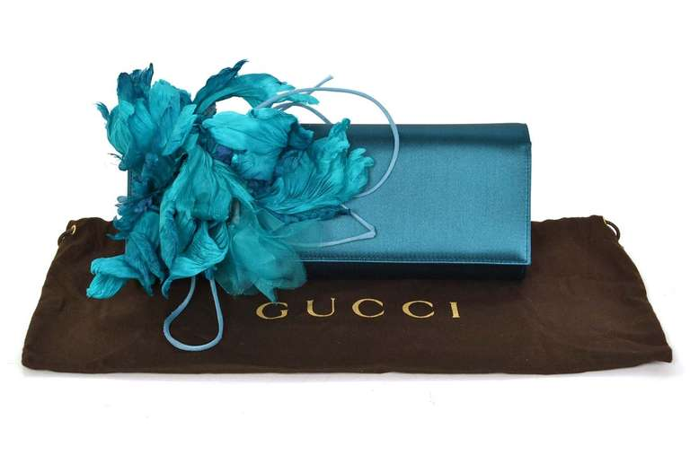 GUCCI Teal Satin Clutch With Flower 10