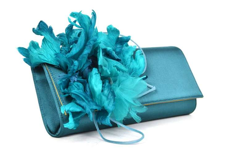 GUCCI Teal Satin Clutch With Flower 2
