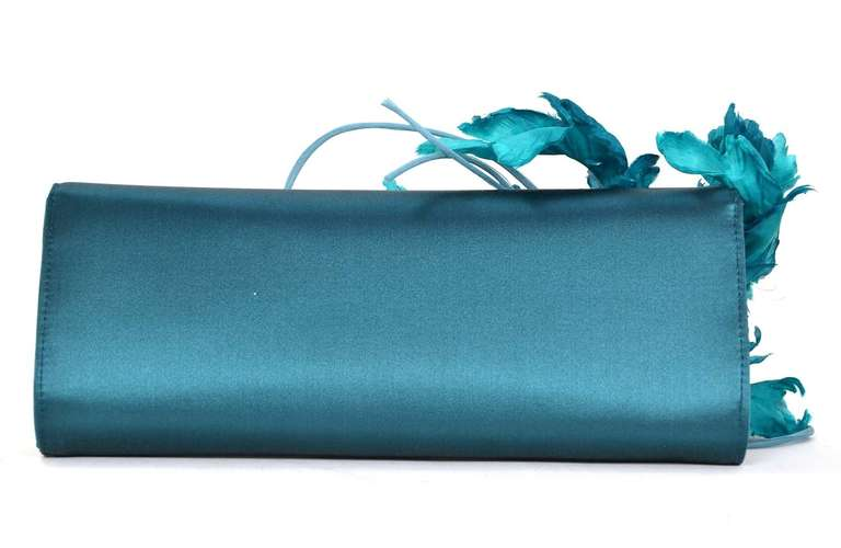 GUCCI Teal Satin Clutch With Flower 3