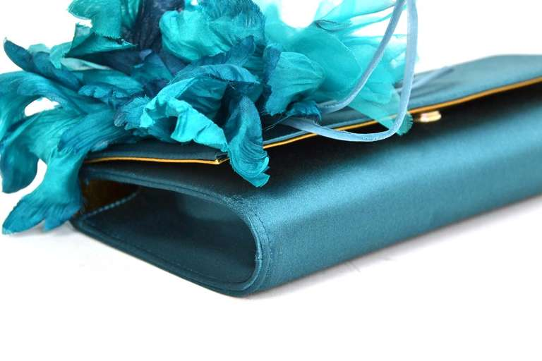 GUCCI Teal Satin Clutch With Flower 5
