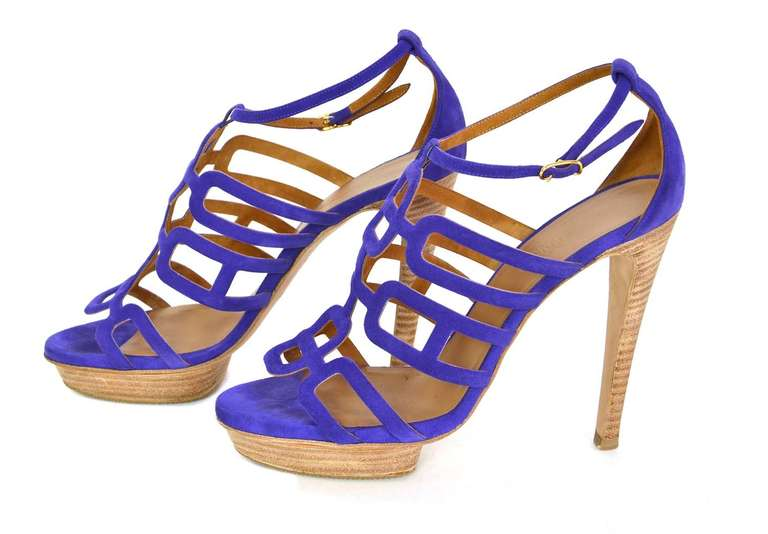 HERMES Purple Suede Ancre Heels Shoes - Sz 39 In New never worn Condition For Sale In New York, NY