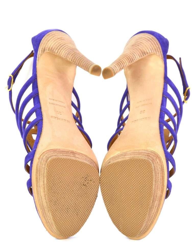 HERMES Purple Suede Ancre Heels Shoes - Sz 39 For Sale 1