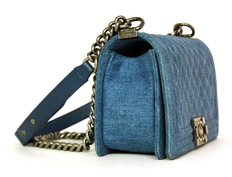 3d29a64ff860 CHANEL Blue Denim 'Boy' Bag W. Silver Hardware 2013 Made in France Materials