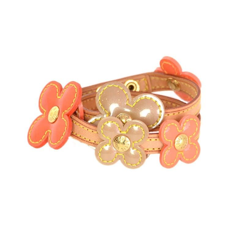 LOUIS VUITTON Orange Vernis Flower Wrap Bracelet 1