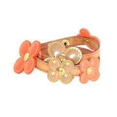 LOUIS VUITTON Orange Vernis Flower Wrap Bracelet