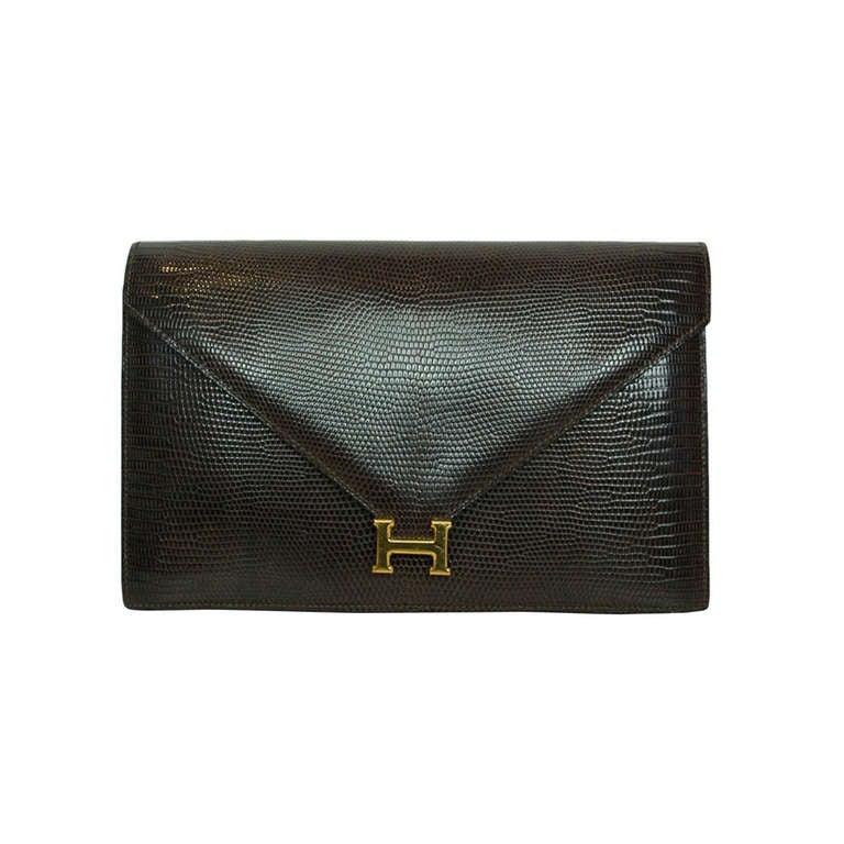 Hermes Brown Lizard H Envelope Clutch Shoulder Bag 1